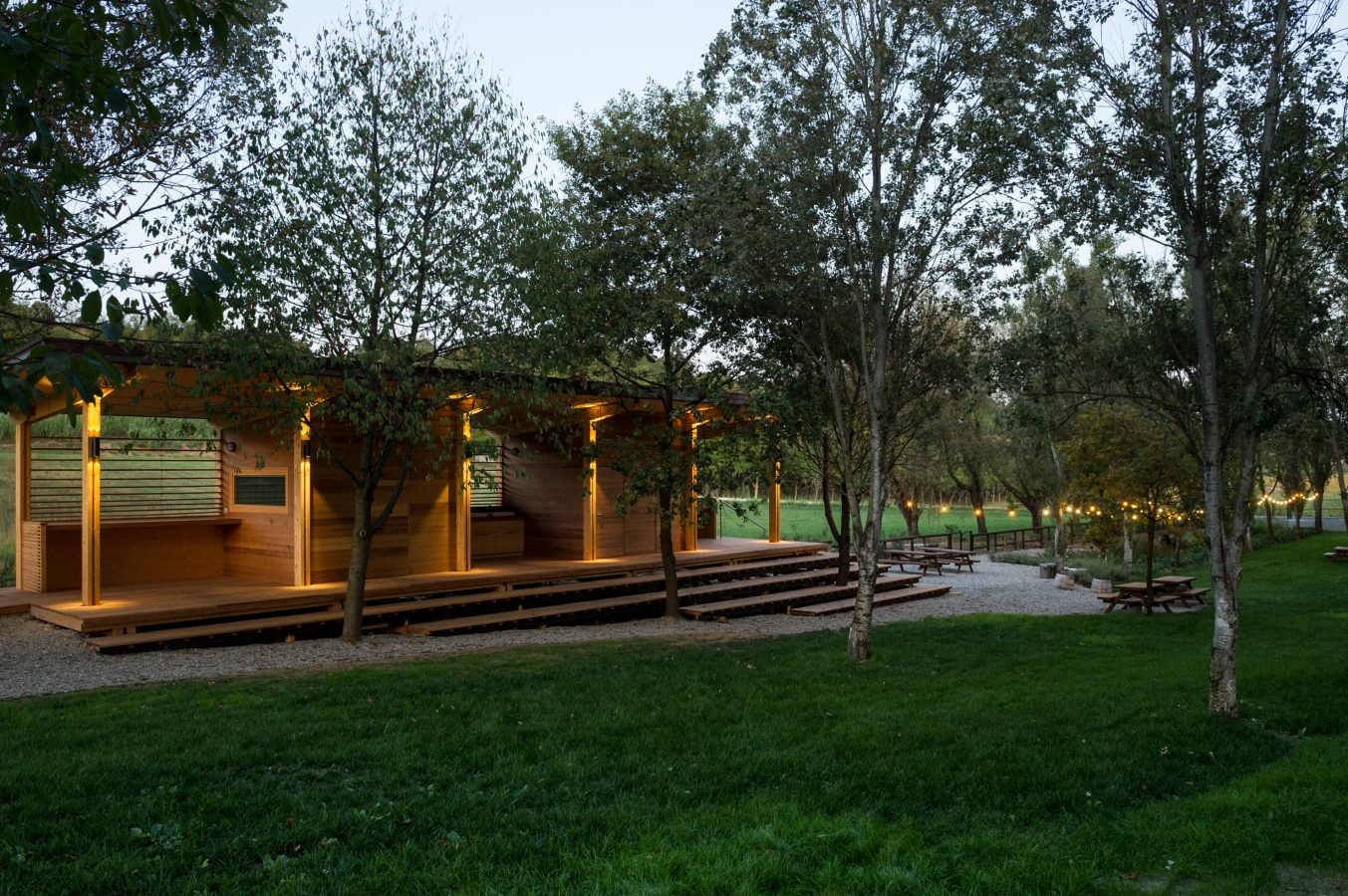 Leap Orsolina28 glamping clubhouse lights